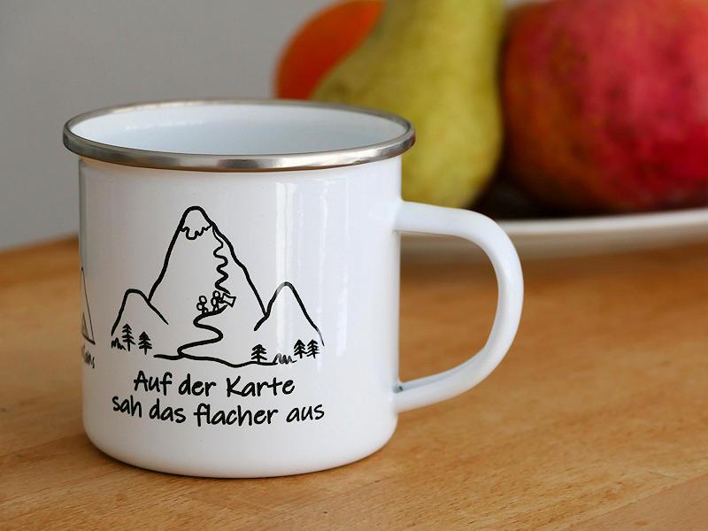 Berg Emaille Tasse - Camping Tasse