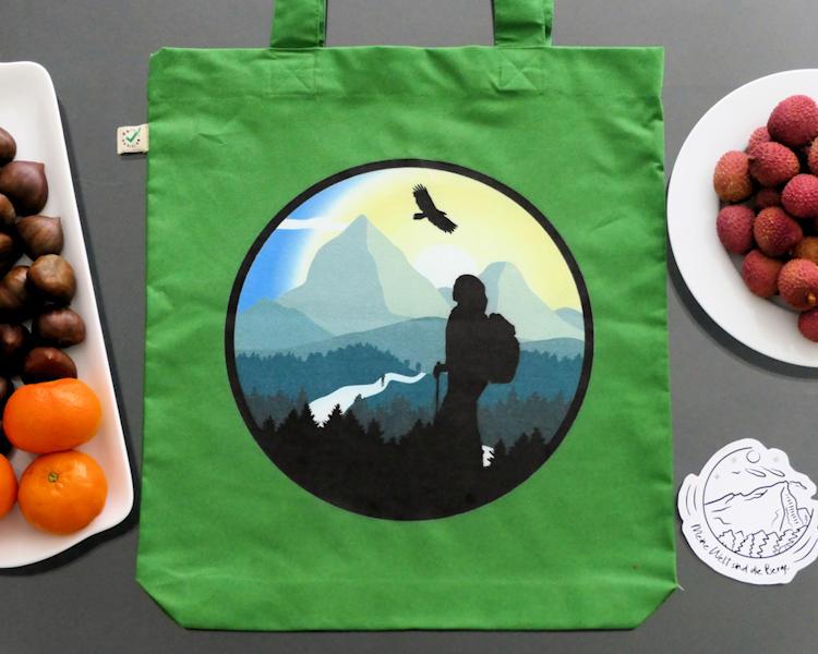 Öko Tasche mit schönem Bergmotiv für Wanderer