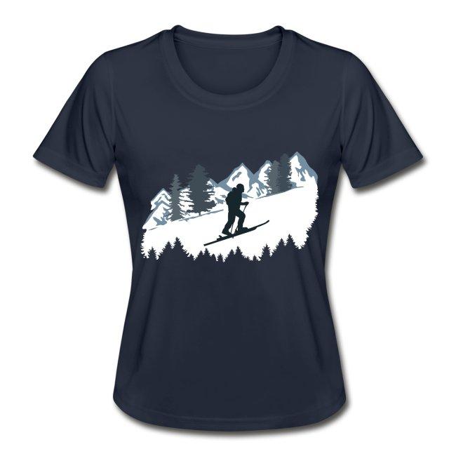 Funktionsshirt mit Skitouren Bergmotiv, Frauen