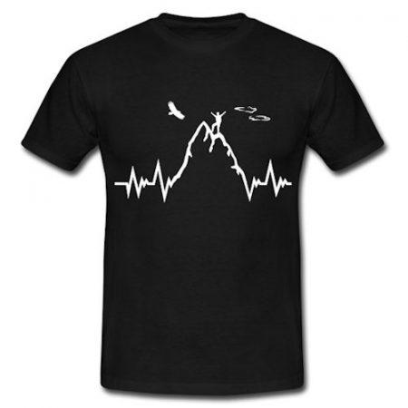 Berg Herzschlag T-Shirt - Geschenke für Wanderer und Bergsteiger