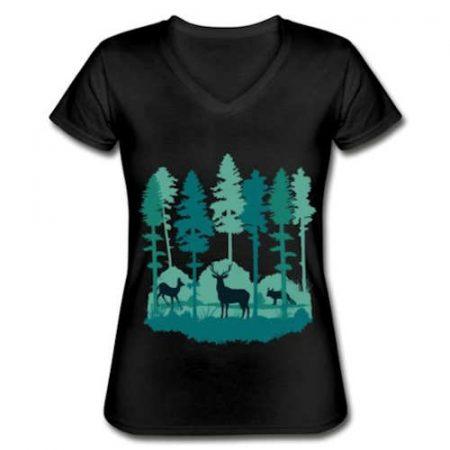 Wald und Waldtiere Frauen Outdoor T-Shirt